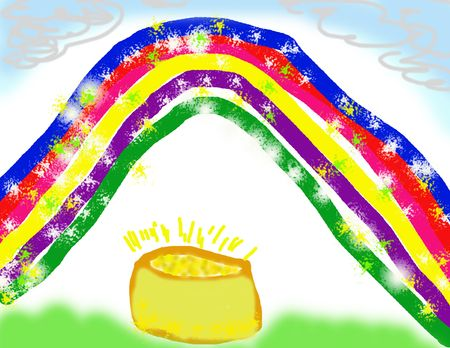 Child's Drawing of Leprechaun's Sparkling Pot of Gold Stock Photo - 2488741