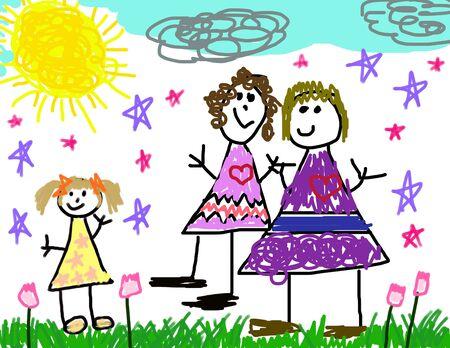 lesbische m�dchen: Child's Zeichnung von ihr Happy Family