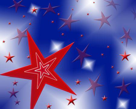 Bright red white & blue stars background Stock fotó