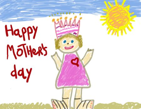 Child's Drawing Gift on Mother's Day Stock Photo - 2528342