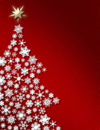 White snowflake tree with deep red background Stock Photo - 2545399