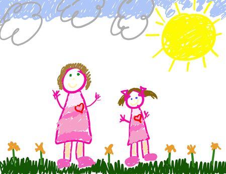 femme dessin: Child's Drawing of Me & Mom  Banque d'images