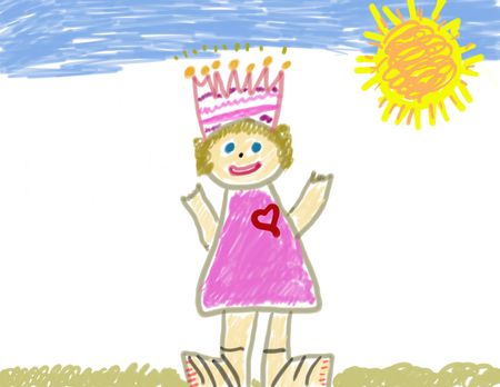 colored play: Childs Drawing of Herself as a Princess