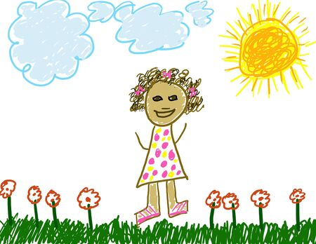 Child's Drawing of Herself Stock Photo - 2785818