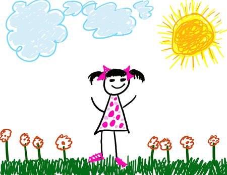 girl drawing: Childs Drawing of Herself