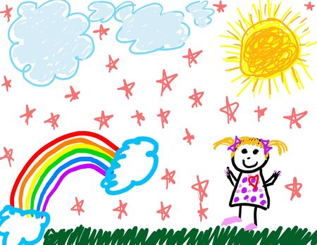 Child's Zeichnung von sich selbst und was sie liebt