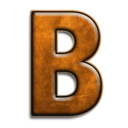 leather texture: Individual isolated letter b in brown leather series Stock Photo