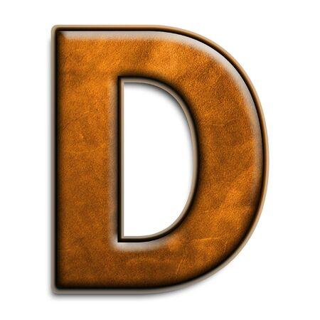 Individuele geïsoleerde brief d in bruin leder serie