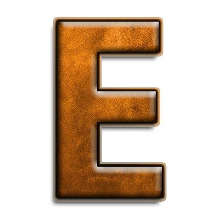 Individuels isolés lettre e en cuir brun série Banque d'images - 2816540