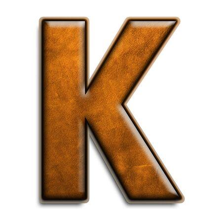 Individuels isolés lettre k en cuir marron série  Banque d'images - 2816551