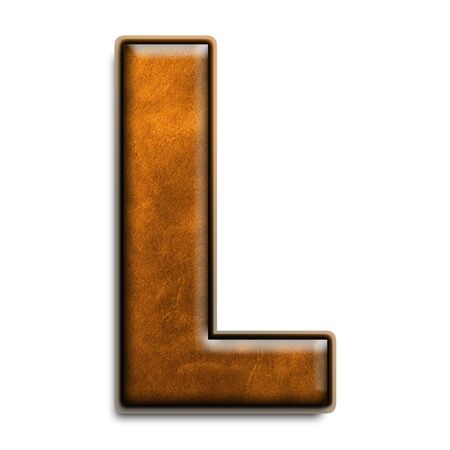 Individual isolated letter l in brown leather series Standard-Bild