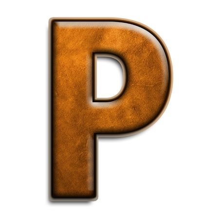 Individual isolated letter p in brown leather 3D series photo