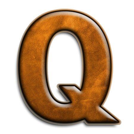 Individu isolé lettre q en cuir brun  Banque d'images - 2816561