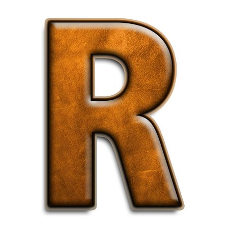 Individual isolated letter r in brown leather