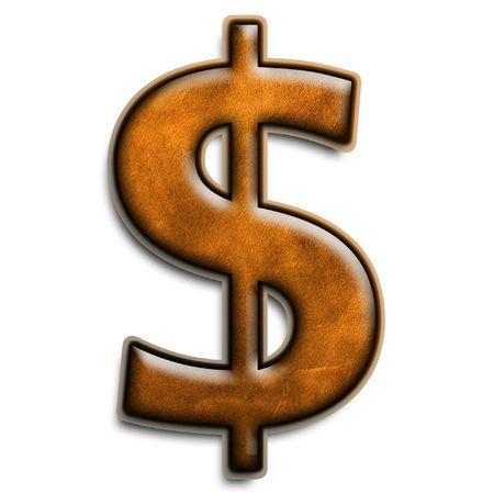 Isolé symbole dollar en cuir brun 3D Banque d'images - 2816532