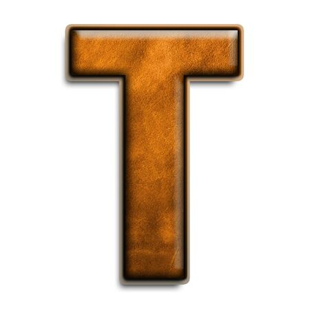 leather texture: Individual letter T in leather brown 3D