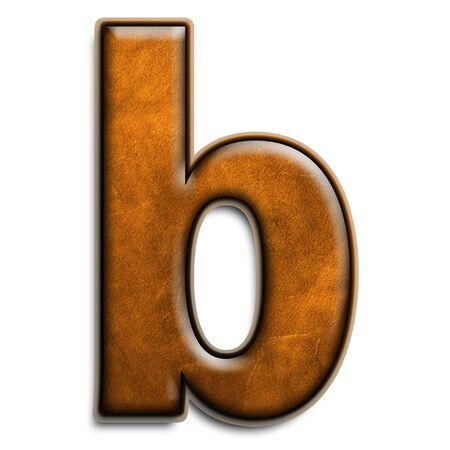 Minuscules lettre b en cuir marron isolé sur blanc  Banque d'images - 2838121