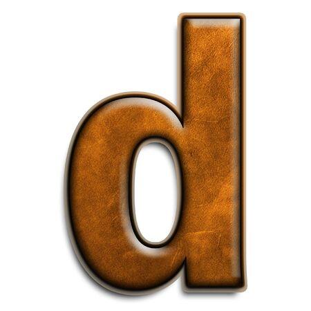 Kleine letter d in bruine leder geïsoleerd op wit Stockfoto