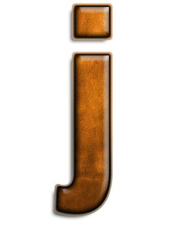 Minuscules lettre j en cuir marron isolé sur blanc  Banque d'images - 2838115