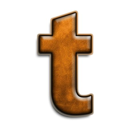 leather texture: Lowercase letter t in brown leather isolated on white
