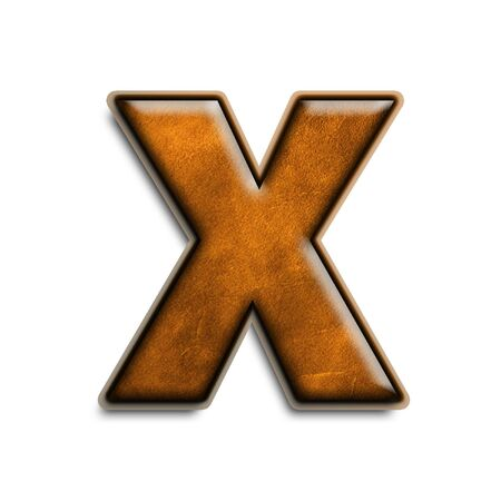 leather texture: Lowercase letter x in brown leather isolated on white