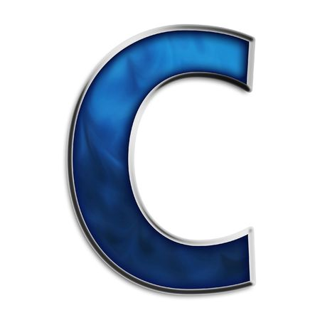 Capital C in steel smokey blue isolated on white photo