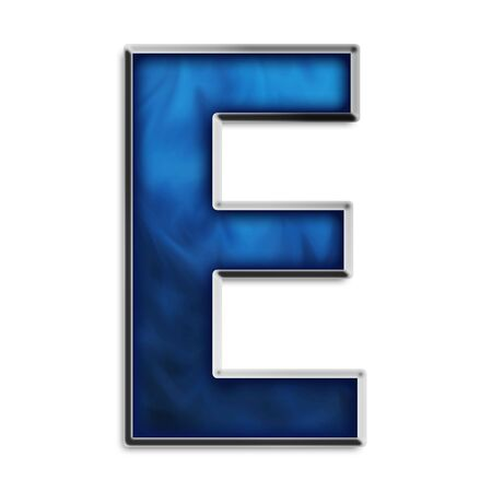 Capital E in steel smokey blue isolated on white