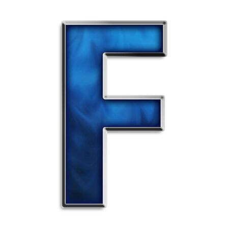 Capital F in steel smokey blue isolated on white