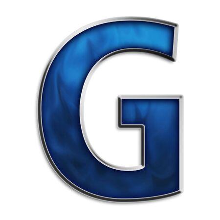 letras cromadas: Capital G en acero azul Smokey aisladas en blanco Foto de archivo