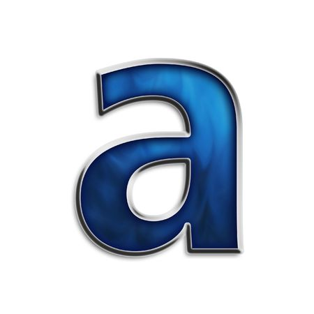 Lowercase a steel smokey blue isolated on white photo