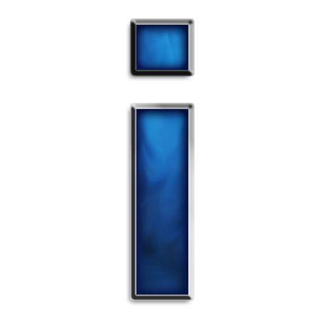 upper case: Lowercase i steel smokey blue isolated on white