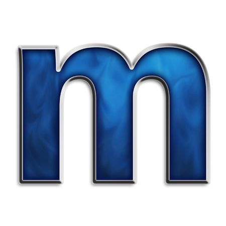 Lowercase m steel smokey blue isolated on white