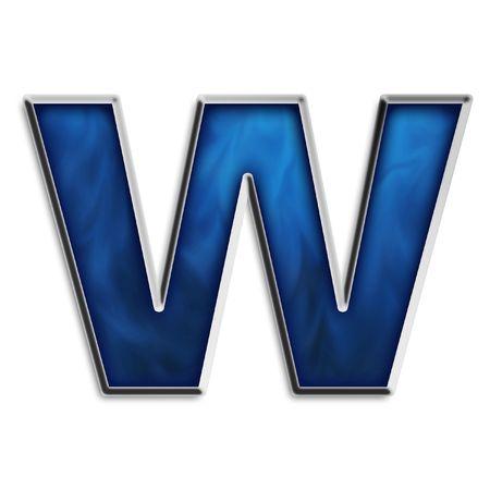 Kleine letter w in staal smokey blauw & chroom-reeks