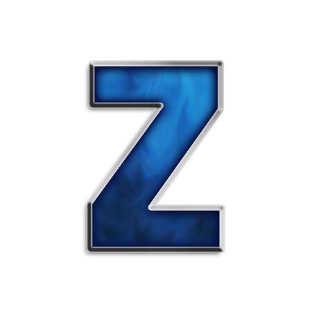 navy blue background: Lowercase z in steel smokey blue & chrome series
