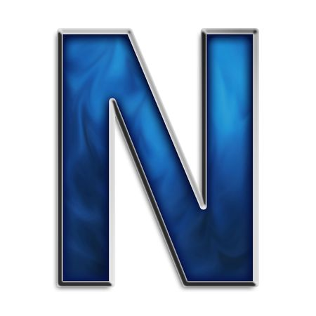 uppercase: Capital N in steel smokey blue isolated on white
