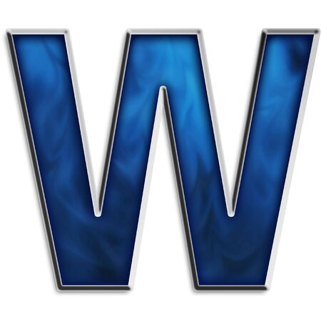 navy blue background: Capital W in steel smokey blue isolated on white