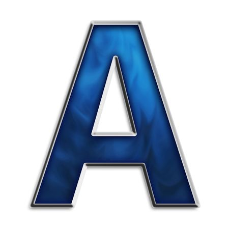 Capital a in steel smokey blue isolated on white Standard-Bild