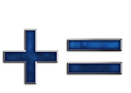 Addition & equal sign in smokey blue series Stock Photo - 2855669