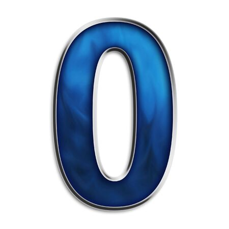Number 0 in steel smokey blue isolated on white