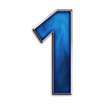 1: Number 1 in steel smokey blue isolated on white