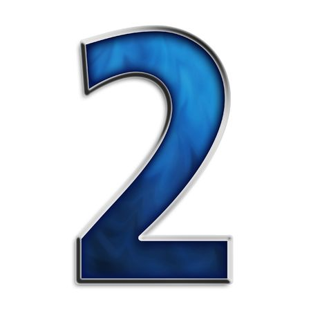 navy blue background: Number 2 in steel smokey blue isolated on white