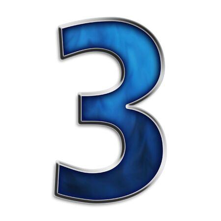 Nummer 3 in Stahl smokey blau isoliert auf weißem Standard-Bild - 2855657