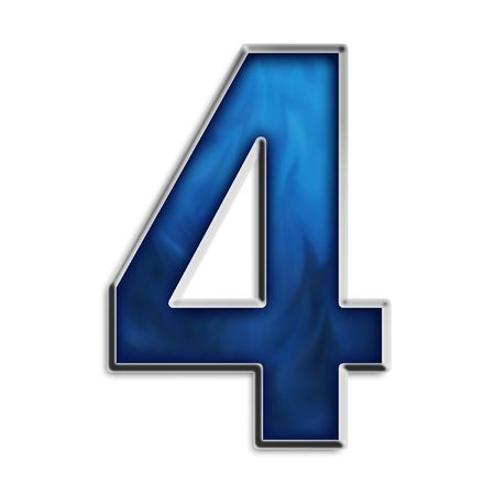 Number 4 in steel smokey blue isolated on white