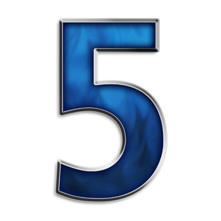 Number 5 in steel smokey blue isolated on white