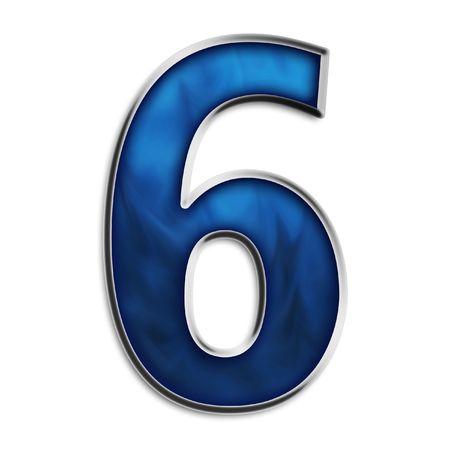 Nummer 6 staal smokey blauw geïsoleerd op wit Stockfoto