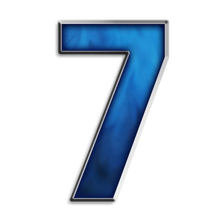 navy blue background: Number 7 in steel smokey blue isolated on white