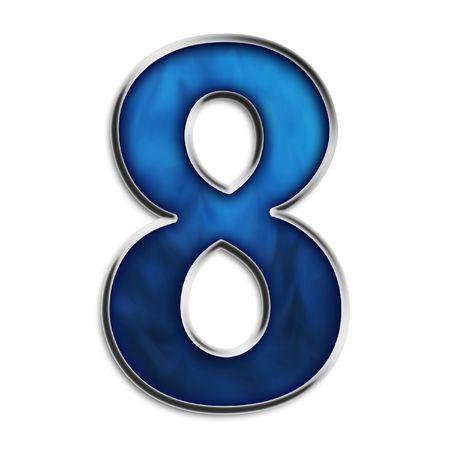 Numero 8 in acciaio blu smokey isolato su bianco