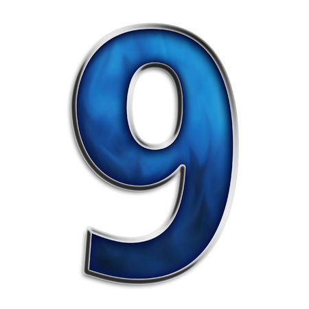 navy blue background: Number 9 in steel smokey blue isolated on white