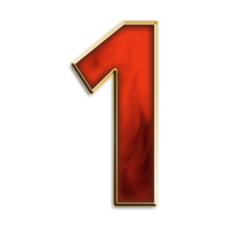 Number 1 in fiery red & gold isolated on white series