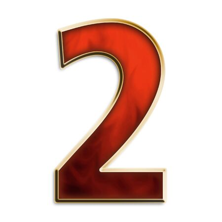 number 2: Number 2 in fiery red & gold isolated on white series Stock Photo
